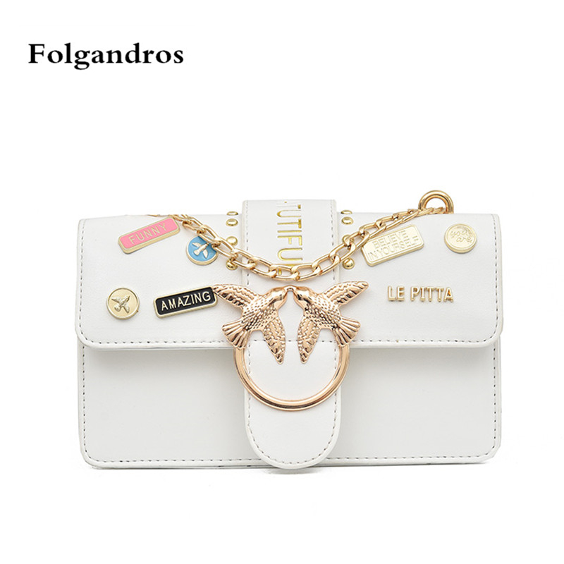 Luxury Flap Handbag Women Designer Leather Chain Shoulder Bag Bird Buckle Messenger Bag Rivet Swallow Crossbody Bag Small Clutch rdywbu candy color rivet chain shoulder bag women new pearl pu leather flap handbag girls fashion crossbody messenger bag b430