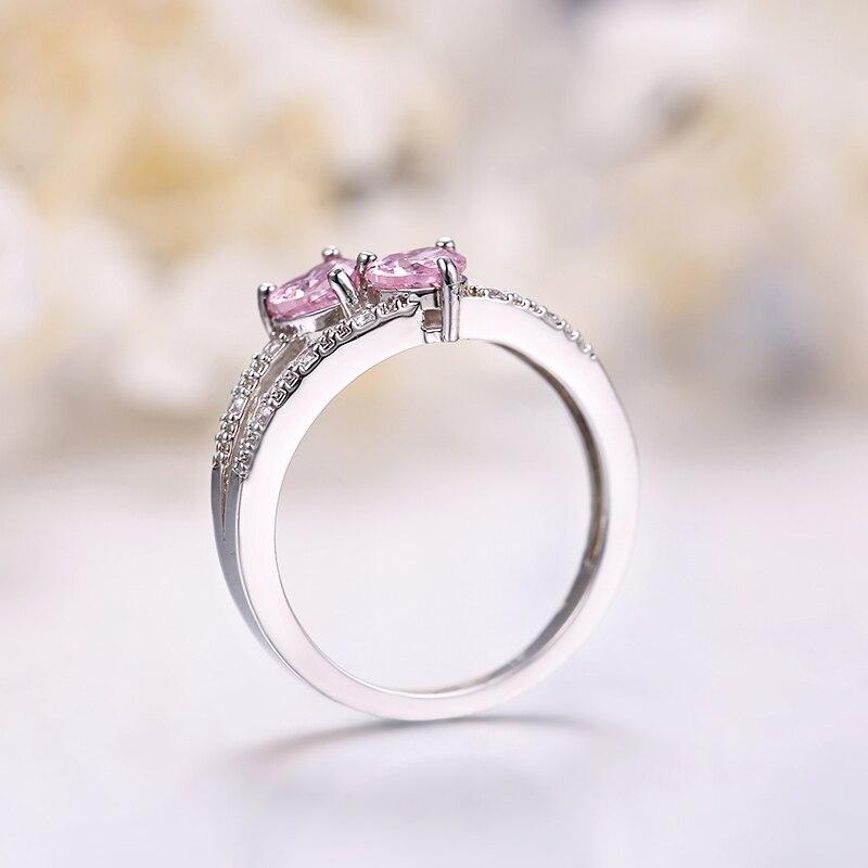 ANGELFRIGG два сердца серебряного цвета кольца с розовым CZ камнем для женщин Love You обручальное Обручальное модное ювелирное изделие подарок