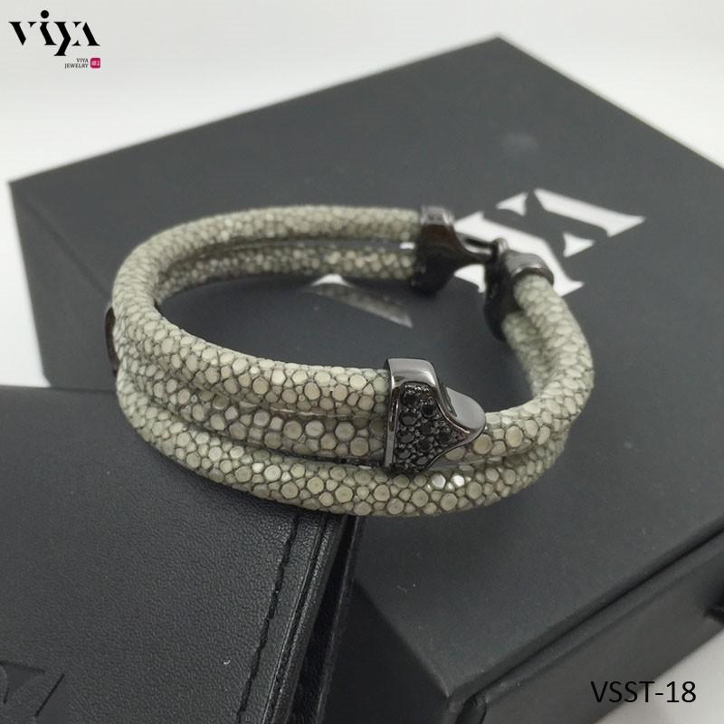 Origin Real Stingray Skin Bracelet with Swarovski stone setting-VSST-18 (5)