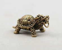 42MM/1.7Collect Curio Rare China Fengshui Small Bronze Exquisite Animal Auspicious Beast Dragon Turtle Pendant Statuary 33g