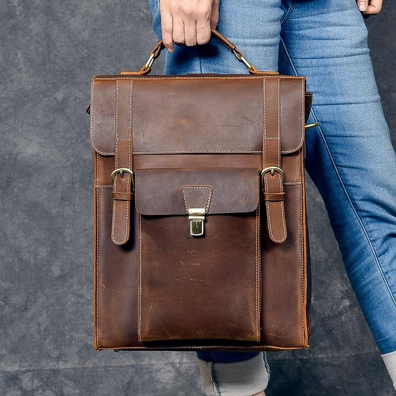 e18dce6fd361 100% Genuine Leather Daypack Knapsack Men Shoulder Laptop Book Bags Vintage  Travel Crazy Horse Cowhide Male Rucksack Backpack