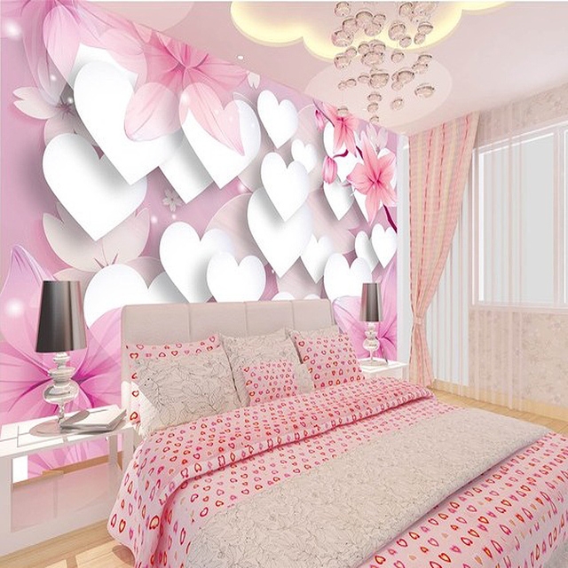 US $29.0 |3D wallpaper for wall 3d Home wallpaper Princess children\'s room  wallpaper perspective pink romantic love for bedroom-in Wallpapers from ...