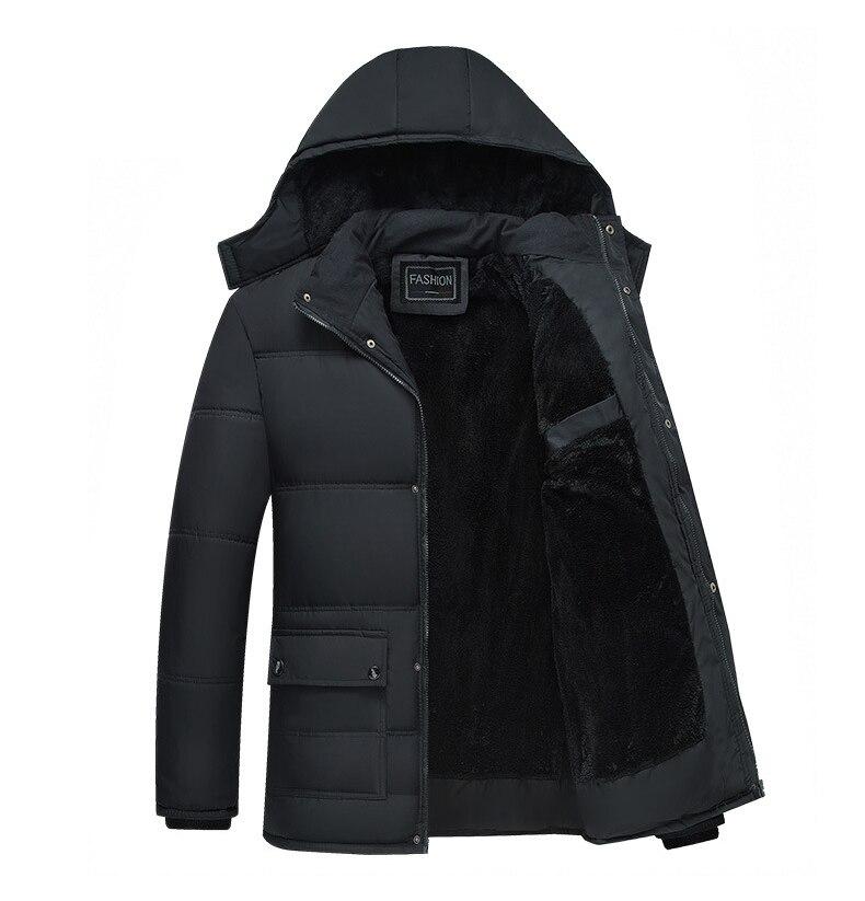 Image 2 - Mwxsd ブランド冬のメンズ厚く暖かいパーカージャケットとコート男性厚いパッド入り毛皮のコートの男性スタンド襟オーバーコート    グループ上の メンズ服 からの パーカー の中