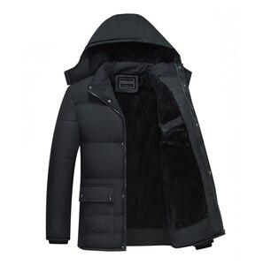 Image 2 - Mwxsd 브랜드 겨울 남성 두꺼운 따뜻한 파카 재킷과 코트 남자 두꺼운 패딩 모피 코트 남성 스탠드 칼라 오버 코트