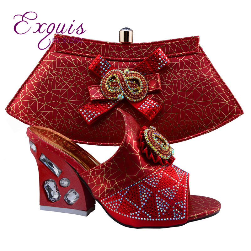 ФОТО Purple color recent European-style high-heeled shoes matching African and sale of luxury women's shoes and bag together GF49