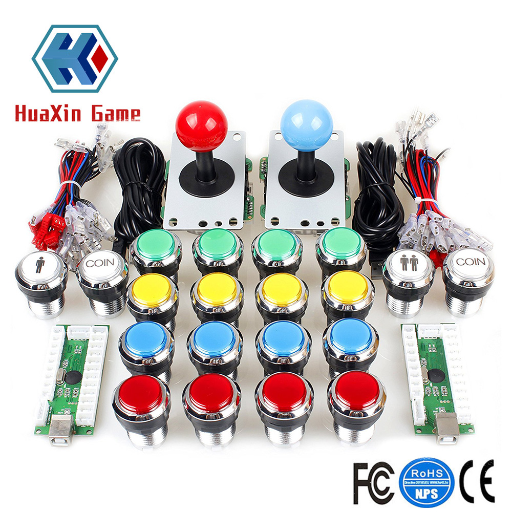 Arcade Contest DIY Kit USB Encoder To PC 8 Way Joystick Chrome Plating LED Illuminated Push Button For Arcade Mame Raspberry Pi цена