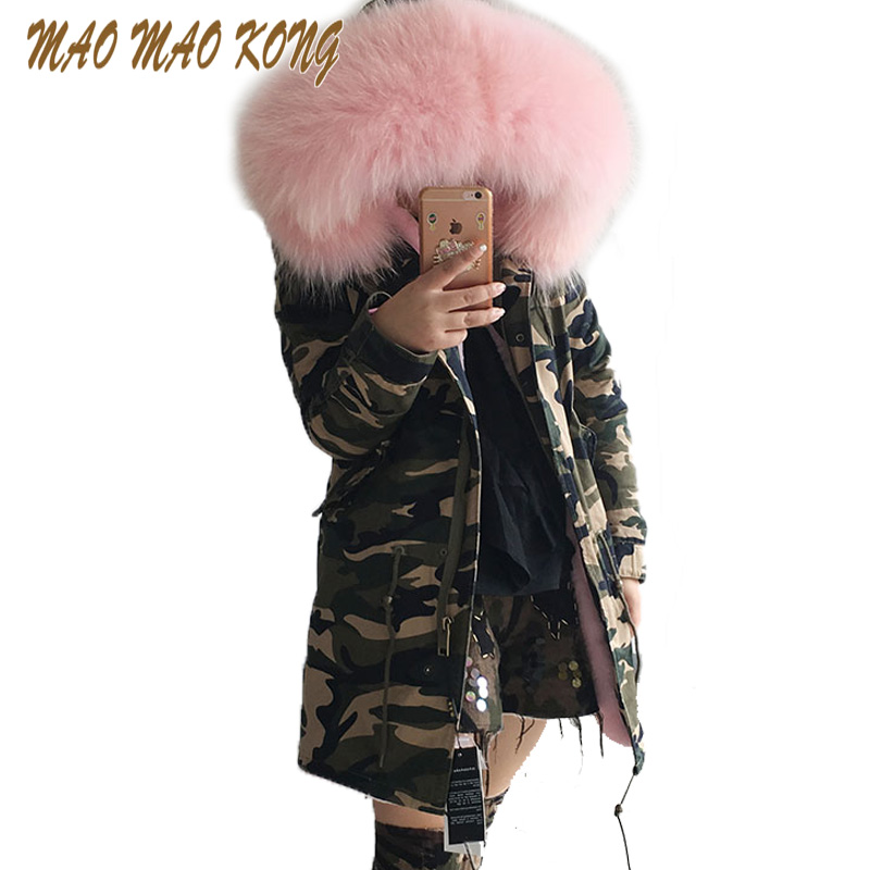 MMK women's army green Large color raccoon fur hooded coat parkas outwear long detachable lining winter jacket brand style zoe saldana 2017 winter jacket women detachable lining natural large fur hooded army green cotton coat outwear thick warm parkas