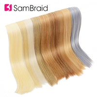 SAMBRAID Straight Tape Hair 22 Inch Synthetic Hair On Adhesive 17 Colors Can Be Choose Invisible PU Weft Extension 40 Pcs/pack