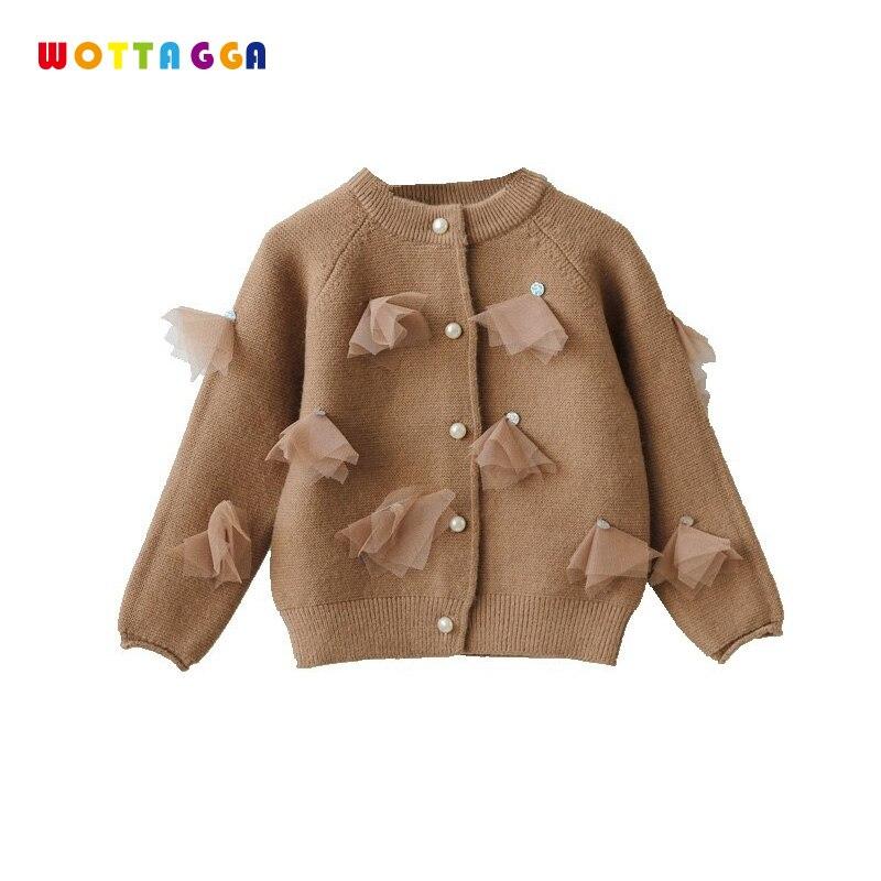 WOTTAGGA 2018 fille Cardigan solide gland o-cou perle enfants vêtements pur automne nouveau mode manteau enfants chandail mode 3-7y