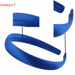 Image 2 - 33pcs 1.5cm 2cm Satin Headbands Colored Adult Kids Ribbon Hairband Women Covered Hair Band Multicolor Girl Headwear Accessories