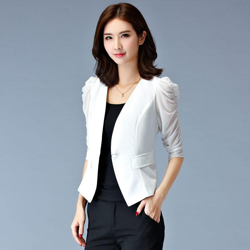 White Black Short Blazer Women Summer Puff Sleeve Small ...