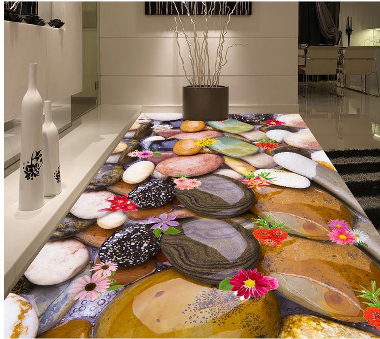 ФОТО Home Decoration color stone 3D stereoscopic wallpaper floor  3D wallpaper floor for living room 3d flooring pvc