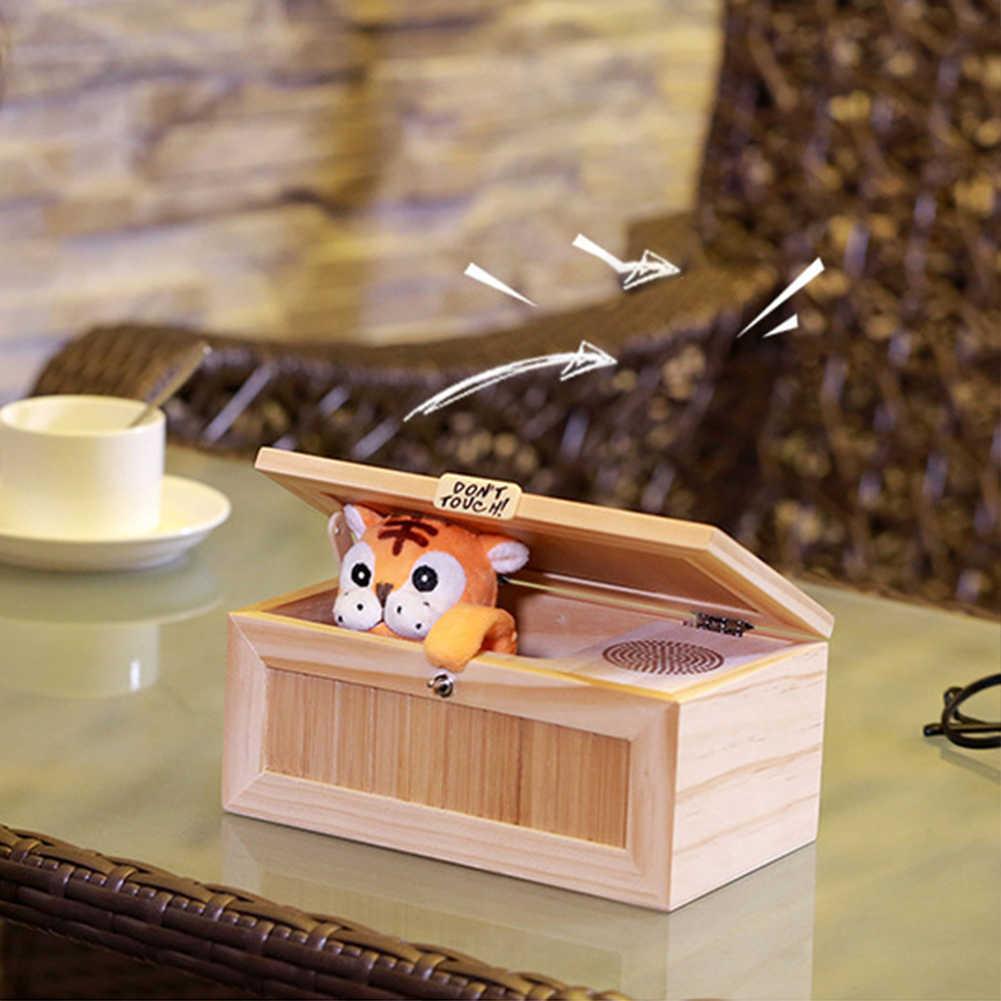 Eletrônico Caixa Inútil De Madeira Bonito Do Tigre Engraçado Presente Toy com Som para o Menino e Crianças brinquedos interativos de Estresse-Redução decoração Da mesa