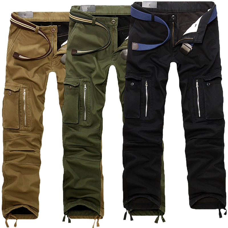 0955286eccf SHUJIN Men Cargo Pants Plus size Winter Thick Warm Pants Full Length Multi  Pocket Casual Military Baggy Tactical Trousers 2018-in Cargo Pants from  Men s ...