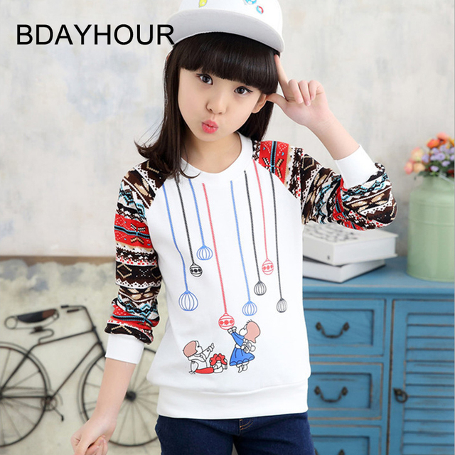 2017 Spring New Children'S Clothing Korean Cute Cartoon Printing Thread Long-Sleeved Round Neck Sports Girl Sweatershirts