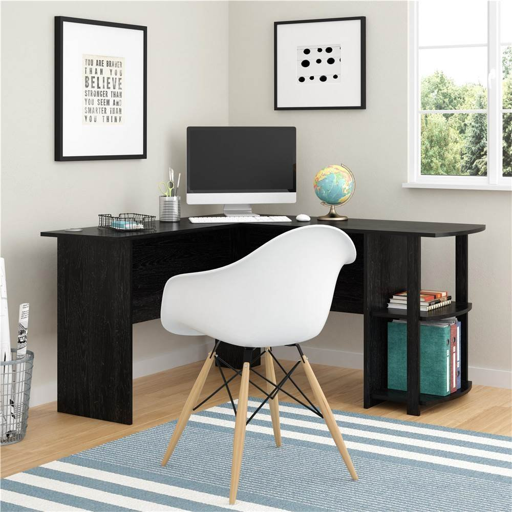 L-Shaped Wooden Computer Desk With Two-layer Bookshelves Black Dropshipping