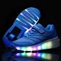 Nueva Llegada Niños Niñas Transpirable Zapatos de Niños Zapatos de Ruedas con LED Iluminado Jazzy Júnior Niños Zapatillas de Skate Patines