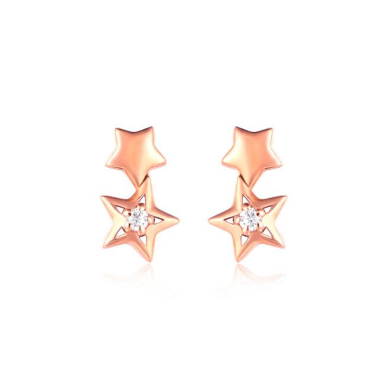 цены на 2018 Double Stars Earrings 18K Gold Stud Earring Rose Gold Color Earrings 18K AU750 Earrings For Women Wholesale  в интернет-магазинах