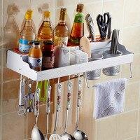 Precio Estante de pared de cocina multifuncional de aluminio espacio estante de almacenamiento colgante condimento accesorios de