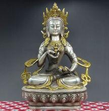 Tibet buddhist fane silver GuanYin bodhisattva buddha statue Avalokiteshvara metal handicraft