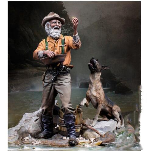 1/24 75mm Gold Rush Prospector With Dog 1849 Wild West 75mm    Toy Resin Model Miniature Kit Unassembly Unpainted