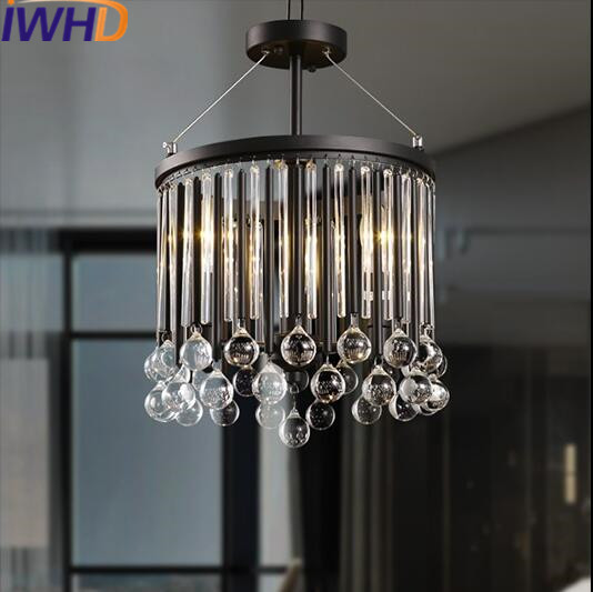 IWHD Crystal Vintage Industrial Lighting Pendant Light LED Style Loft Retro Pendant Lamp Iron Hanglamp Suspension Luminaire edison loft style vintage light industrial retro pendant lamp light e27 iron restaurant bar counter hanging chandeliers lamp