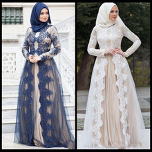 2019 Muslim Evening Dresses Long Sleeves Lace Appliques A Line Elegant Arabic Prom Gowns