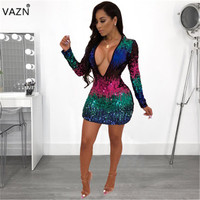 VAZN Autumn Hot Fashionable Popular Sexy 2018 Women Deep V Neck Full Sleeve Dress Ladies Sequined Bodycon Mini Dress FNN8172