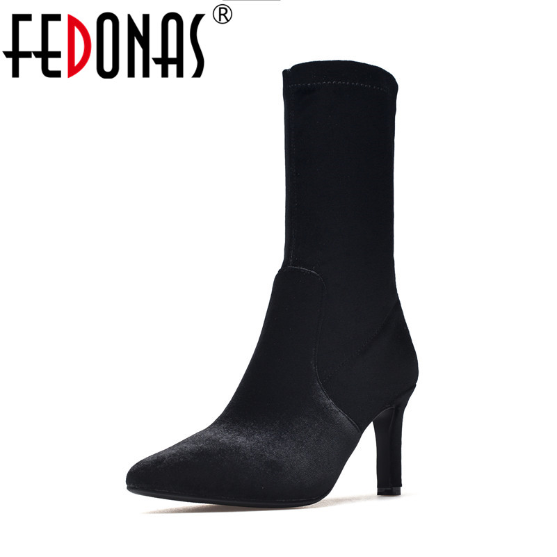 FEDONAS Top Quality Women Sexy Sock Boots Fashon Black Suede Velvet Mid-calf High Boots for Women High Heels Retro Shoes double buckle cross straps mid calf boots