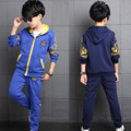 Cotton Hooded Baby Boys Clothing Sets Track Suit Kids Clothes Sets Children Outerwear For 5-14 Years Old