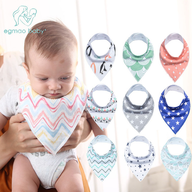 9pcs/set Newborn Baby Bibs Waterproof Kids Girls And Boys Cotton Triangle Children Feeding Accessories Burp Cloths Bandana Bibs