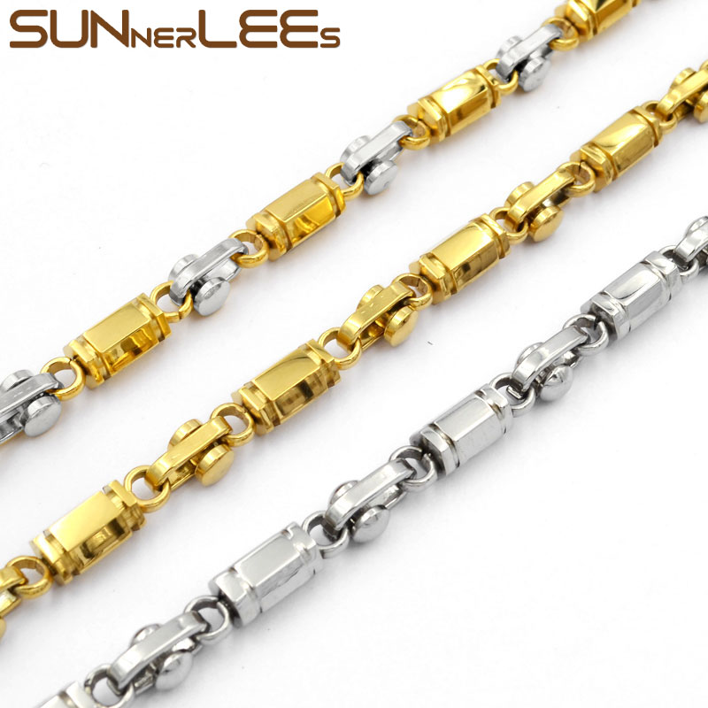 SUNNERLEES 316L Stainless Steel Necklace 6mm Geometric Link Chain Silver Color Gold Plated Men Women Jewelry Gift SC38(China)