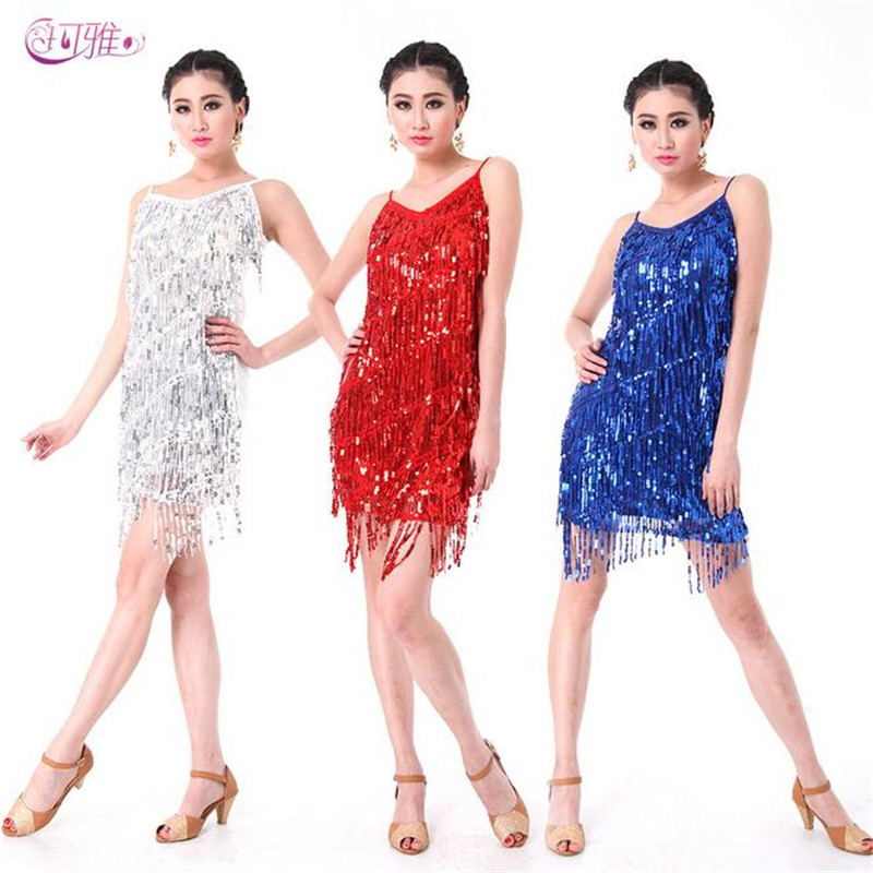 50aea6595 Women Latin Dance Dress Ballroom Dancing Dresses Fringe Sequins Latina  Dance Costume Danse Latin Tango Dress Skirts For Sale