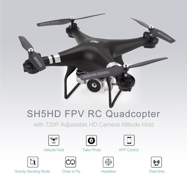 RC Quadcopter H5HD 2.4G FPV Drone with 720P Adjustable Wifi Camera Live Video Altitude Hold Headless Mode One Key Return