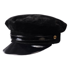 New Womens Mens Real leather Patent Beret Newsboy Militry Army/Navy cap/hat