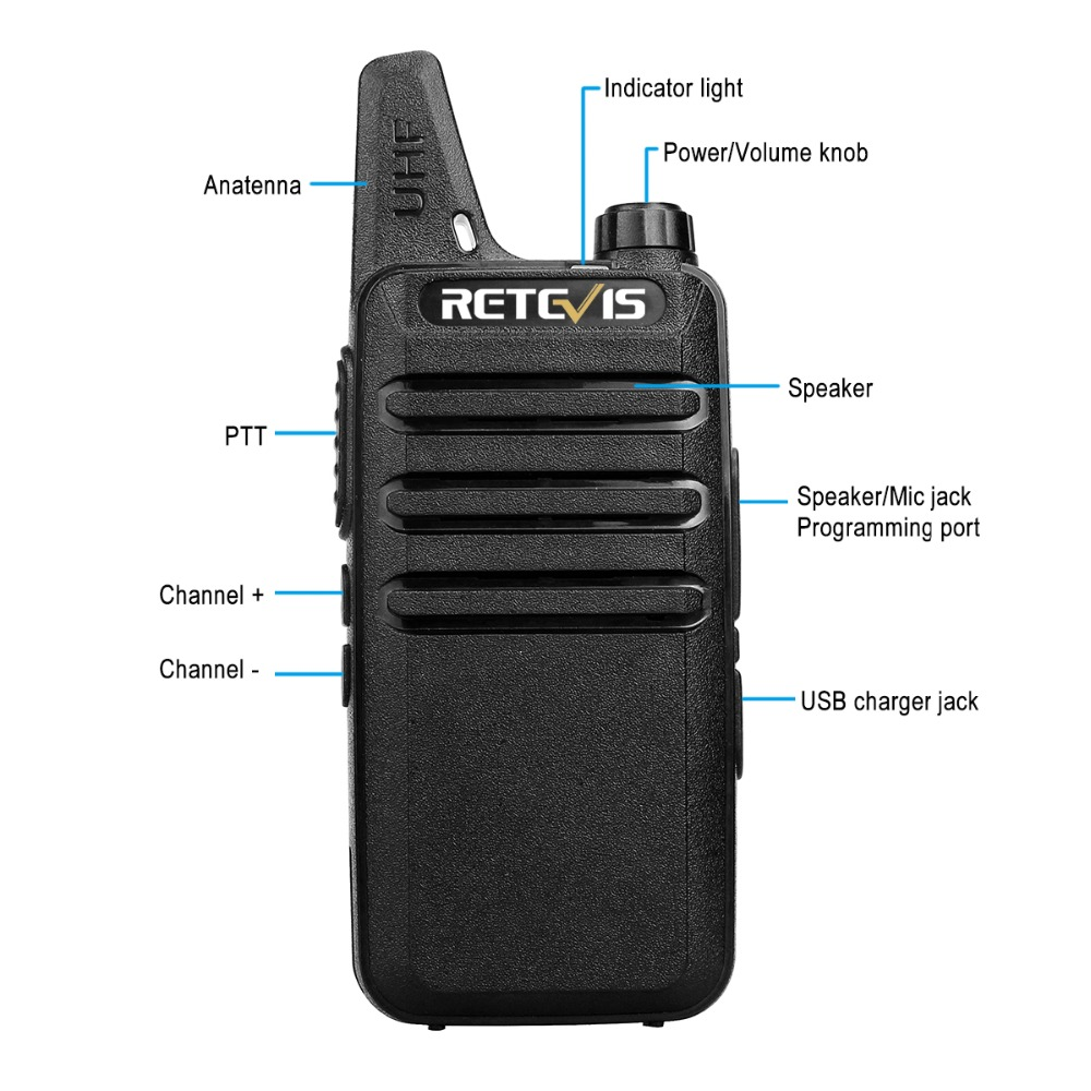 4 st Retevis RT22 Mini Walkie Talkie Radio 2W UHF VOX USB Laddning - Walkie talkie - Foto 3