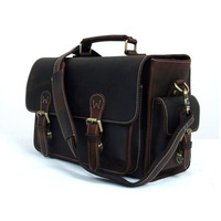 ROCKCOW Genuine Leather DSLR Camera Bag Leather Briefcase DSLR Messenger Bag 6919