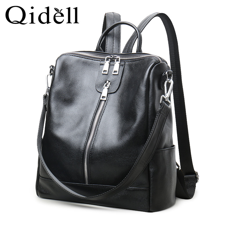 Multi Functional Genuine Leather Backpack For Women/ Big Capacity Classic Female Shoulder Bag