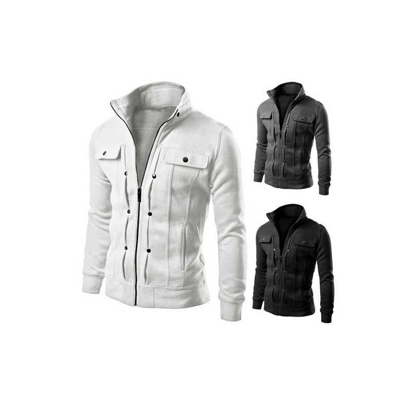Tendance Casual Hommes de veste Manteau 2018 Automne Manches longues Noir Plus La Taille Fermeture Éclair Blanc Hommes de Streetwear Minces Blousons