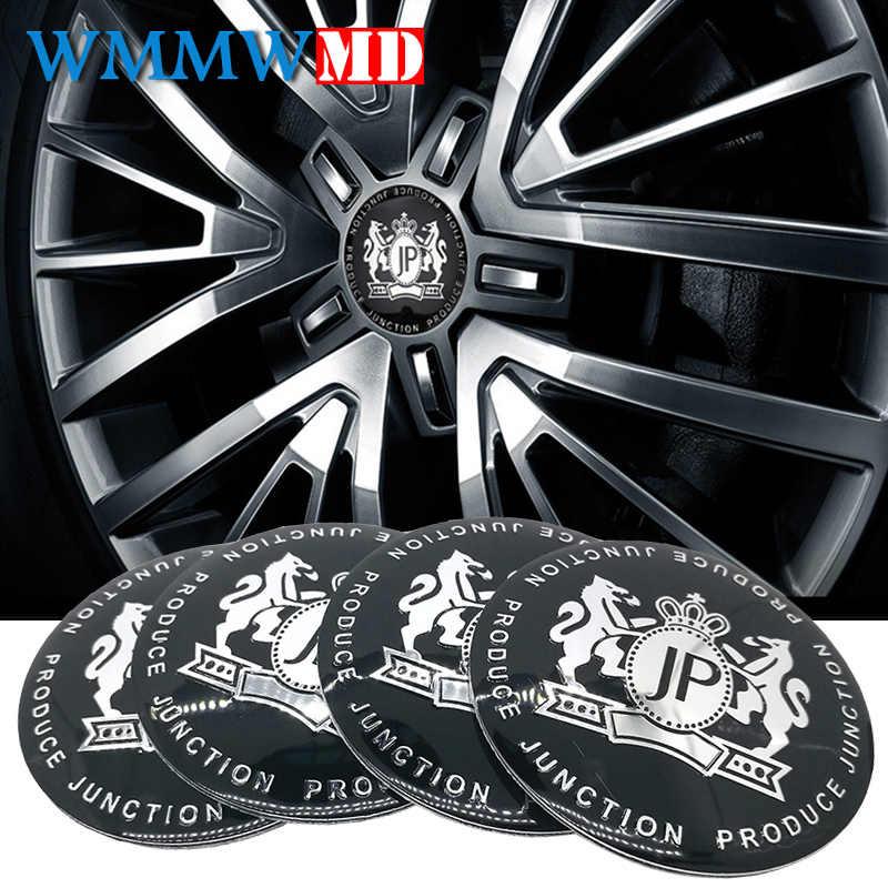 4 piezas de diseño de coche VIP 56mm neumático de aleación JP coche volante Centro cubo tapa emblema metal etiqueta para BMW Nissan Opel MG