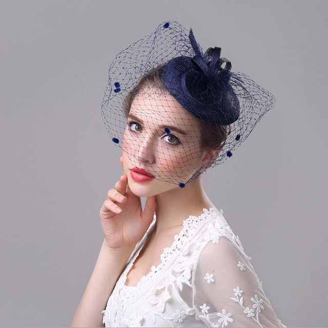 Navy Beige Blue Linen Fascinator Top Hat Hairpin Vintage Wedding Fascinator  Veil Yarn Hair Clip Women Brides Hair Accessories e46936feac8