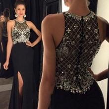 Alexzendra Black Chiffon Long Prom Dresses Customize Side Slit Crystals Beads Elegant Formal Evening Party Dresses