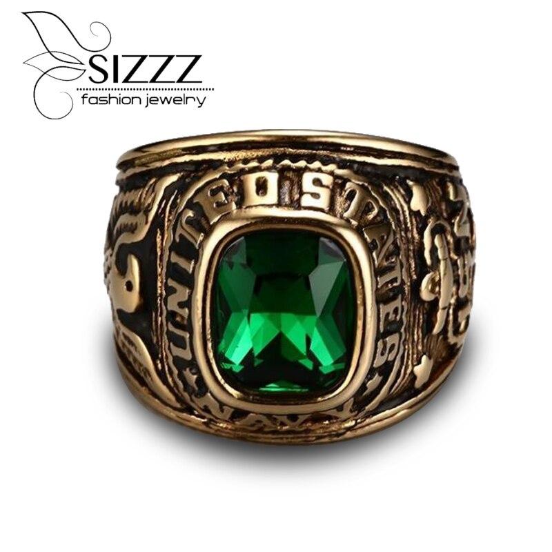 US Navy Ring (Black CZ Stone) U.S. Navy Seals Marine Corps USMC Veteran Eagle Ring (Size 8-11) все цены