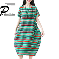 Large size Cotton & Linen Loose Colorful Striped Dress 2018 Women Summer Big Size Short sleeved O neck Mid Calf Classic Dress