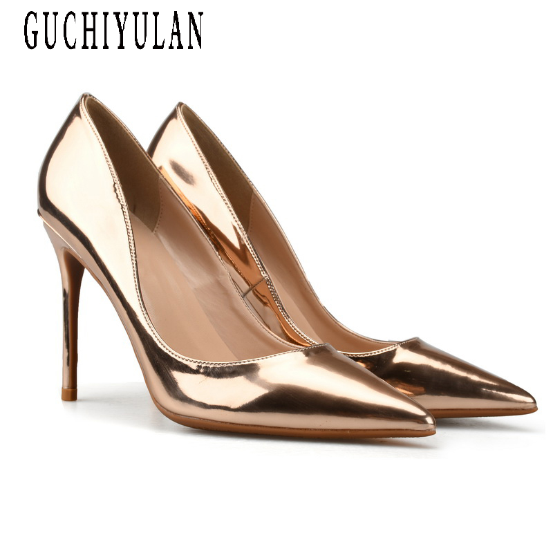 Rose Gold ladies Patent Leather High Heels Shoes Sexy Pointed Toe High Shoes for Women Silver 10cm Pumps Party shoes Big Size pink sheepskin leather lady high heels party women pumps shoes studs sexy shallow heels shoes big size pointed toe rivet shoes
