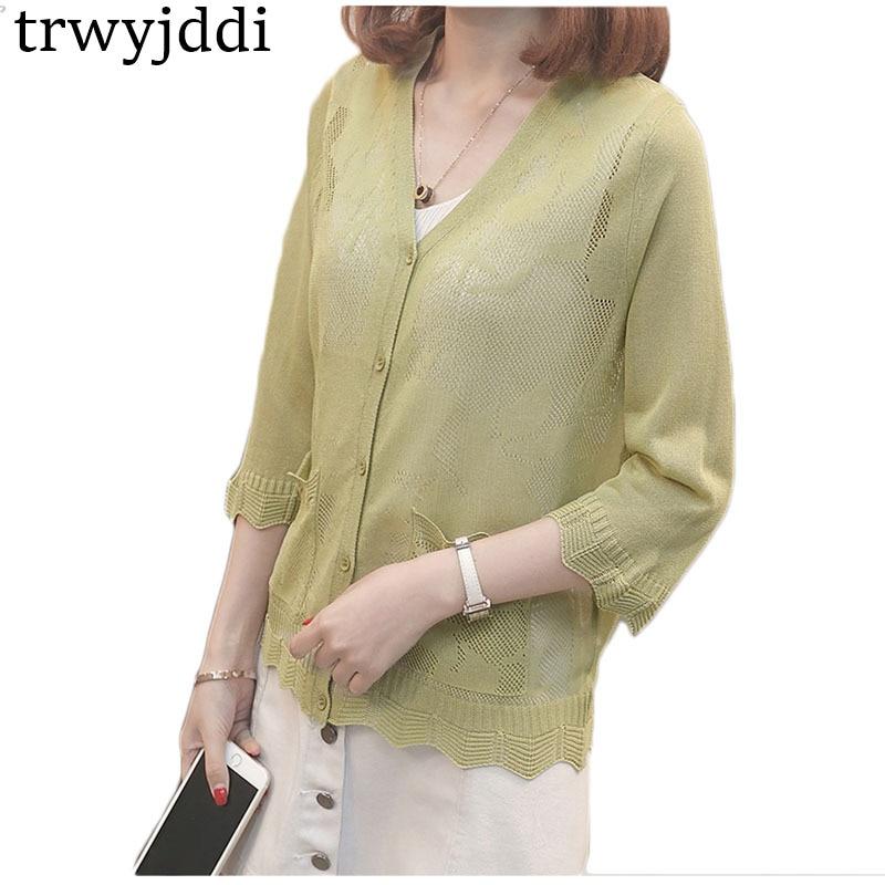 Summer Sweater Cardigan Womne 2018 New Thin Coat Shawl Knitwear Large size V-neck Single-breasted Sun Protection Knit Shirt hl46