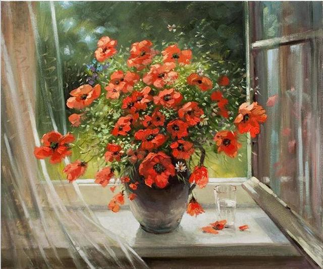 The flowers of the Window Cotton Embroidery Crafts Needlework 14CT Unprinted Cross Stitch Kits DIY Quality Handmade Decor