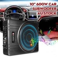 10 дюймов 600 Вт автомобильный сабвуфер автомобильный аудио тонкий под сиденьем активный сабвуфер усилитель нижних частот динамик автомобил...