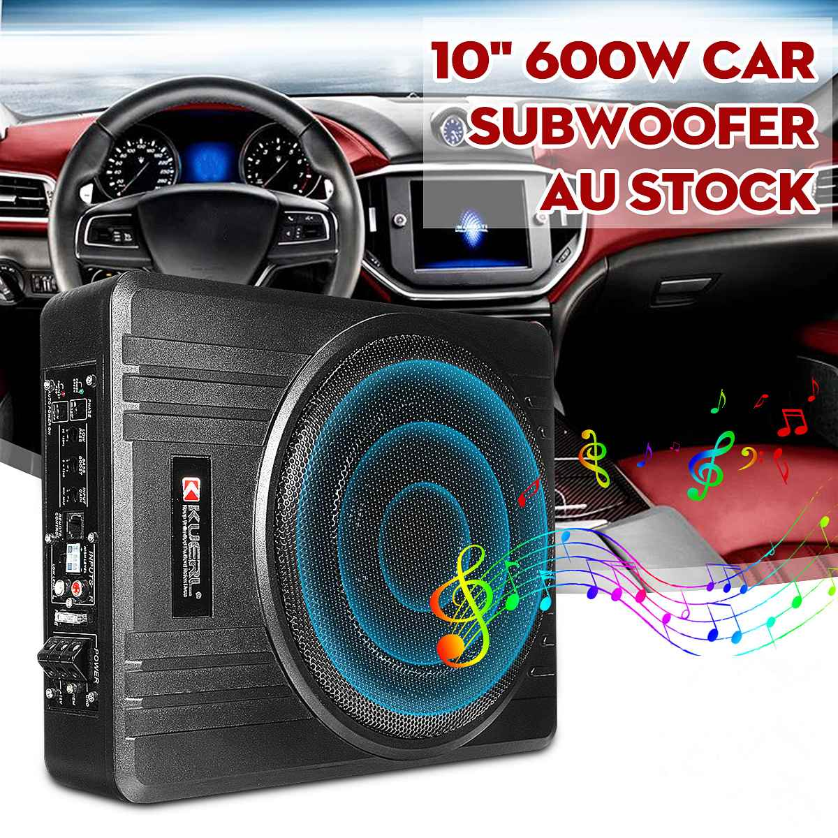 10 Inch 600W Car Subwoofer Car Audio Slim Under Seat Active Subwoofer Bass Amplifier Speaker Car Amplifier Subwoofers Woofer