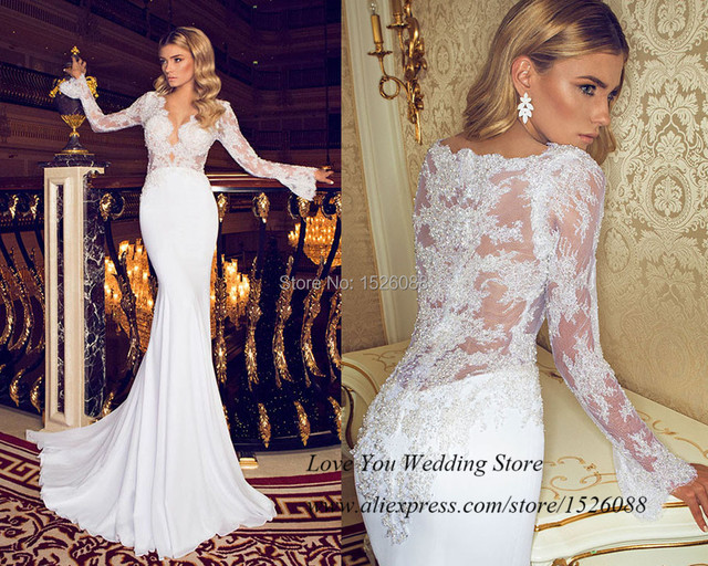 Mermaid Wedding Gowns With Sleeves: Summer Sexy Wedding Dresses 2015 Russian Style Berta
